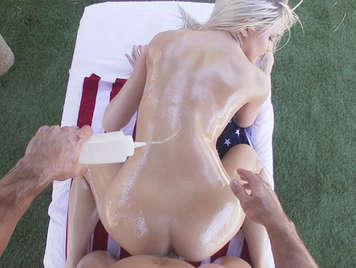 Little American blonde with her body covered in oil fucked like a bitch on all fours