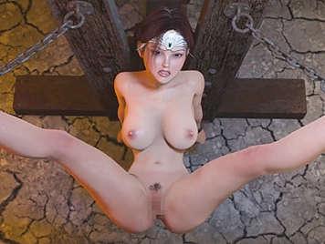 Porno Hentai 3D. Violando a una sexy y tetona princesa atada a un poste de tortura
