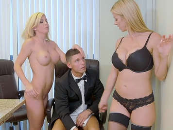 Two awesome secretaries decide to fuck their boss in the office