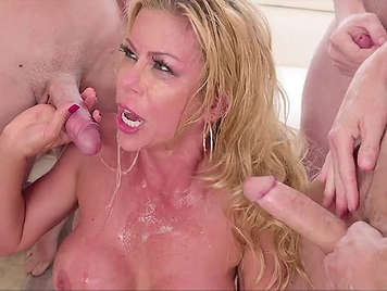 Spectacular busty blonde housewife with insatiable deep throat in a brutal bukkake scene