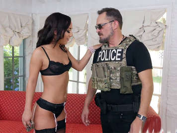 Horny housewife in lingerie, fucking with a police officer