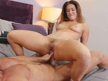 Passion and sex with the horny neighbor with hairy pussy