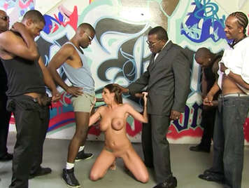 Black men fucking a slut in interracial gangbang porn video