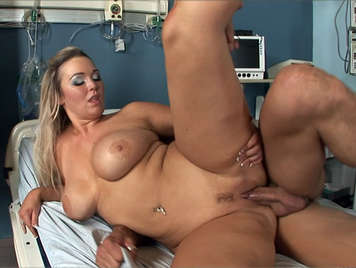 Blonde busty nurse fucked in the ICU until a cumshot floods her mouth and her big tits
