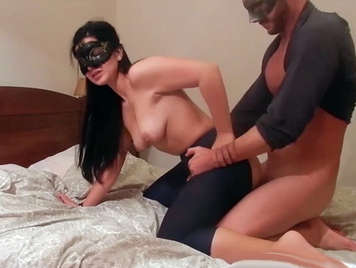 Brunette with a big ass with her face covered by a mascara fucking in a homemade porn video