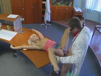 Hidden camera doctor fucking a busty blonde in the waiting room of his private consultation