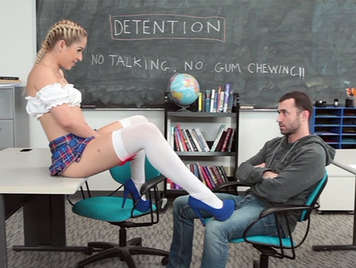 Naughty schoolgirl with short skirt fucking in the punishment room