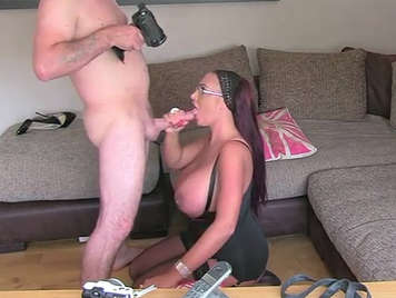 False agent, fucking with a mature housewife with huge breasts who loves the taste of hot cum in her mouth