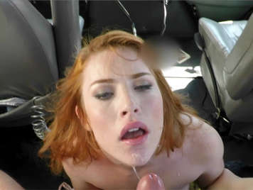 Deep throat girl making a blowjob in the back of a car