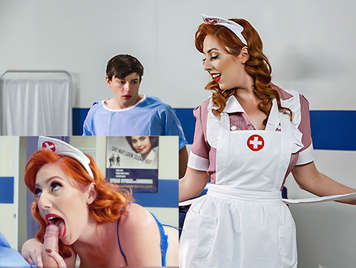 Busty Pin-up nurse blowing a sailor