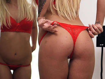 Breaking the asshole to blows of cock to a beautiful blonde in red thong