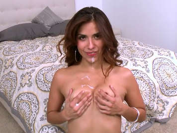 Latina horny gets a good dose of cum on her face