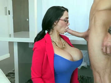 Amy Anderssen is a big-titted boss who loves suck a big cock