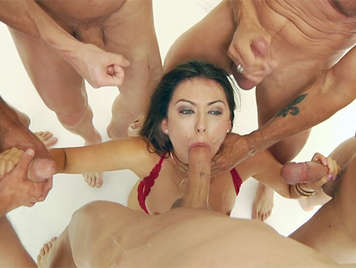 First scene Bukkake with five dicks full of cum for Melissa Moore