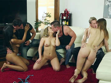 Single sex party after a day at the pool