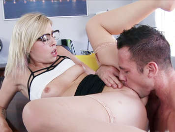 Anal sex with a sexy blonde secretary with glasses and juicy pussy