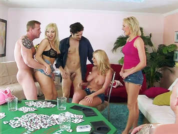 Strip poker in sex party at a home of singles