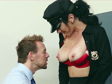 Busty police woman with big nipples sucks a big dick in the campus