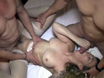 Spanish blonde busty wants two hard cocks for her juicy pussy