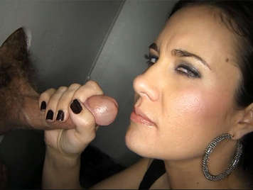 House wife enjoy with two cocks in a glory hole
