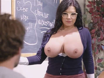 Busty curvy teacher fucked by her student who ends up cumming on her tits