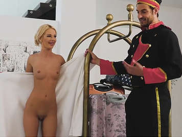 Beautiful rich daddy's girl with shaved pussy fucks with the hotel porter