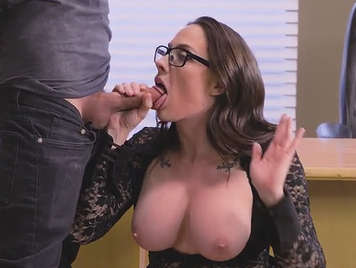 Busty teacher as a student cock