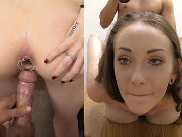 Double camera fucking the ass of a green-eyed girl in porn casting