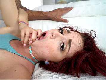 Tiny redhead with dripping cunt fucked brutally receives a creampie
