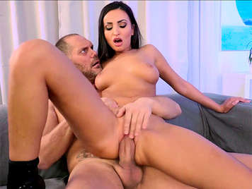 Sensual brunette from Eastern Europe with natural tits wildly riding the cock of porn star Nacho Vidal