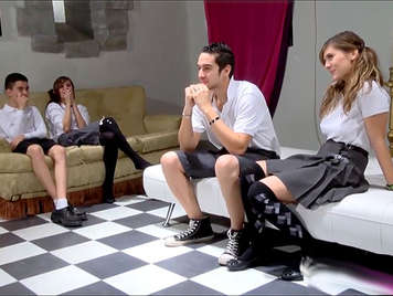 Naughty Spanish schoolgirls from a boarding school have an orgy class with the school boys