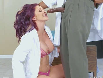 Nurse sucks and fucks the doctor's black cock