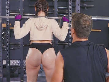 Training with my girlfriend in gym in the gym I just fucking