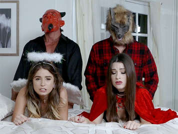 Sexual foursome two teen girls fucked by their parents disguised in hallowen