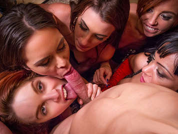 Porno made in Spain, Sexual orgia with redhead Amarna Miller and four friends