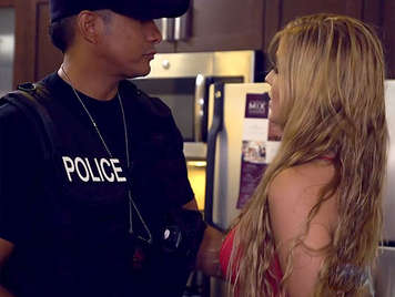 Police agent fucking a beautiful luxury whore 19 years of natural tits