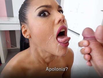 Porno español Corrida en la cara de la sexy española Apolonia La Piedra