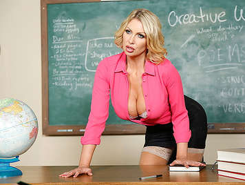 Beautiful sexy busty blonde teacher fucking wildly a student who wants to bang her pussy