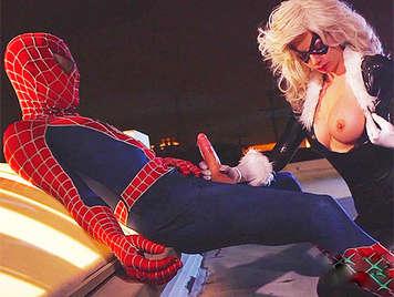 cazzo Spiderman Catwoman riempimenti seni d