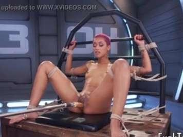 Pequeña y viciosa nena  Negra con  su  maquina de follar