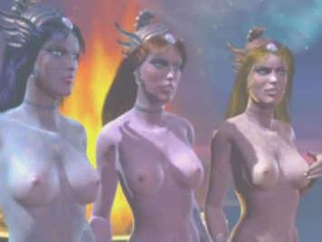 Fantasía hentai 3D con tres chicas humanoides