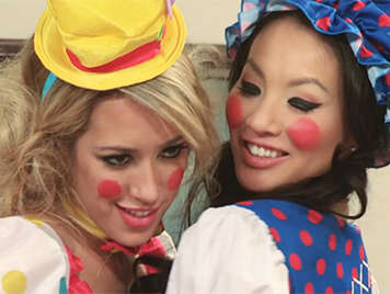 Buddie movies  porn parody   with a threesome with Asian and her blonde girlfriend