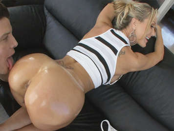 Amazing hot MILF with perfect body and  round ass fucking on the couch