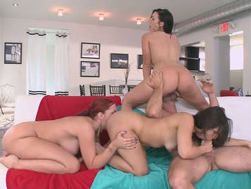 Quartet wild sex with three women hungry for cock and hot cum