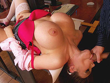 Anal sex with a super busty secretary sucks my dick on the table and between big tits cumshot