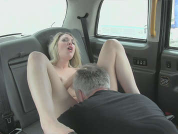 Taxi driver licking pussy and fucking a beautiful blonde and then he cums on his face of doll