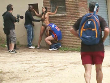 Shooting a hardcore porn video publicly on the street with Argentinian girl