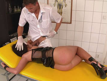 Doctor humiliates a bound patient to the stretcher buggering his ass with his thick cock