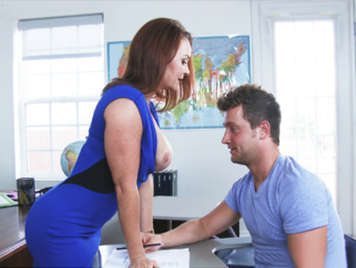 MILF teacher leads his pupil redhead with big tits