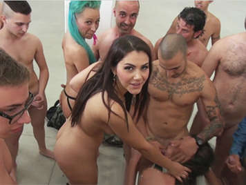 Extreme Gang Bang Orgy with porn stars and fans facefucking rookies with Rocco Siffredi